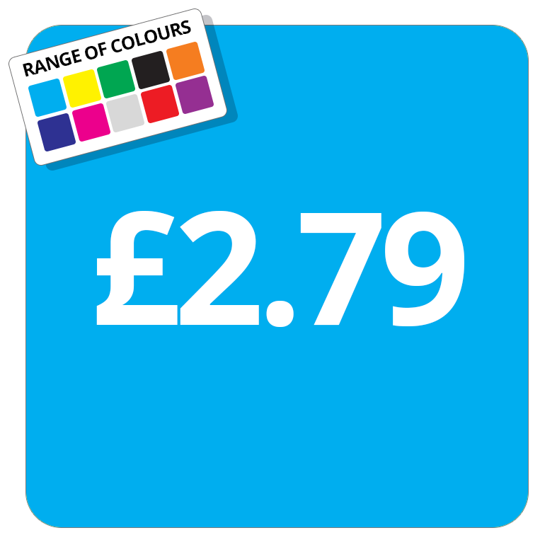 £2.79 Printed Price Sticker - 37mm Square  Light Blue