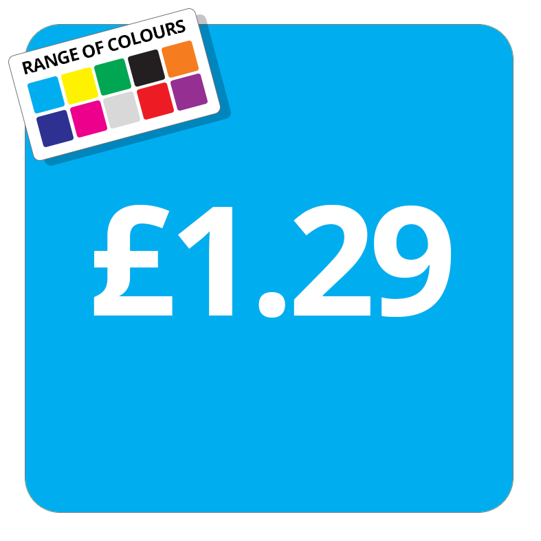 £1.29 Printed Price Sticker - 37mm Square  Light Blue