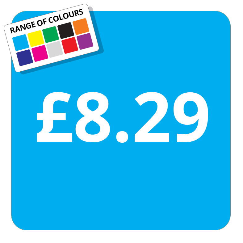 £8.29 Printed Price Sticker - 37mm Square  Light Blue