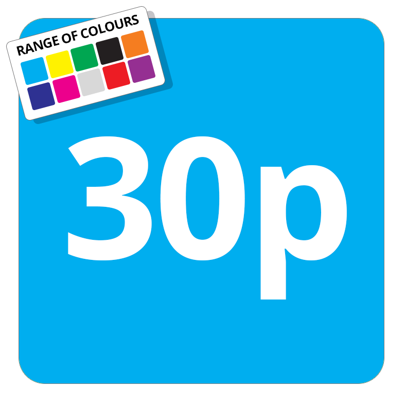 30p Printed Price Sticker - 37mm Square  Light Blue