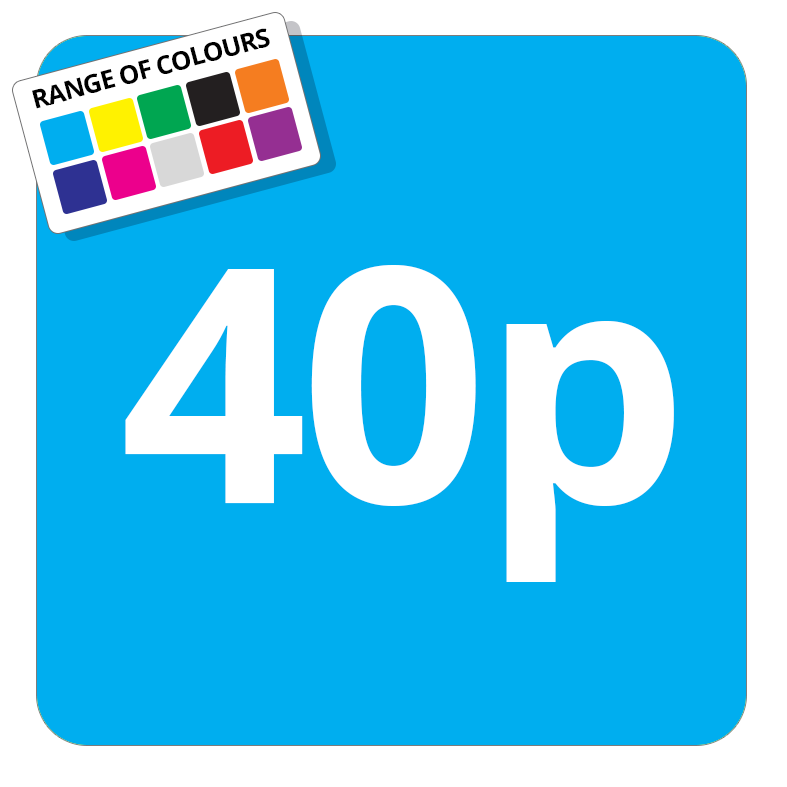 40p Printed Price Sticker - 37mm Square  Light Blue