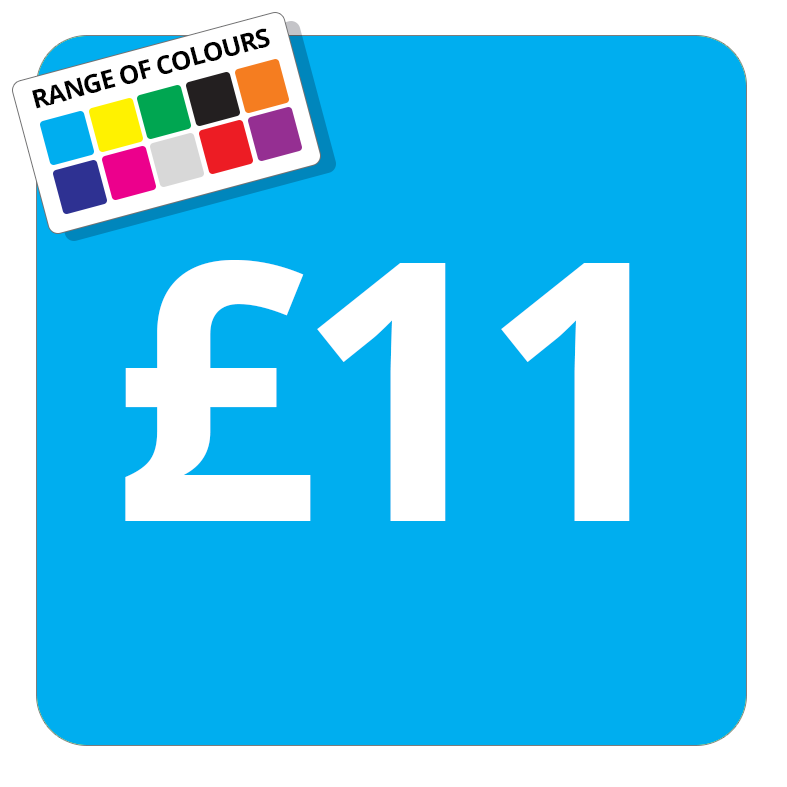 £11 Printed Price Sticker - 37mm Square  Light Blue