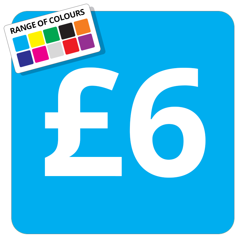 £6 Printed Price Sticker - 25mm Square Light Blue