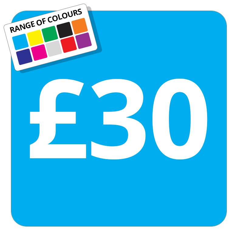 £30 Printed Price Sticker - 37mm Square  Light Blue