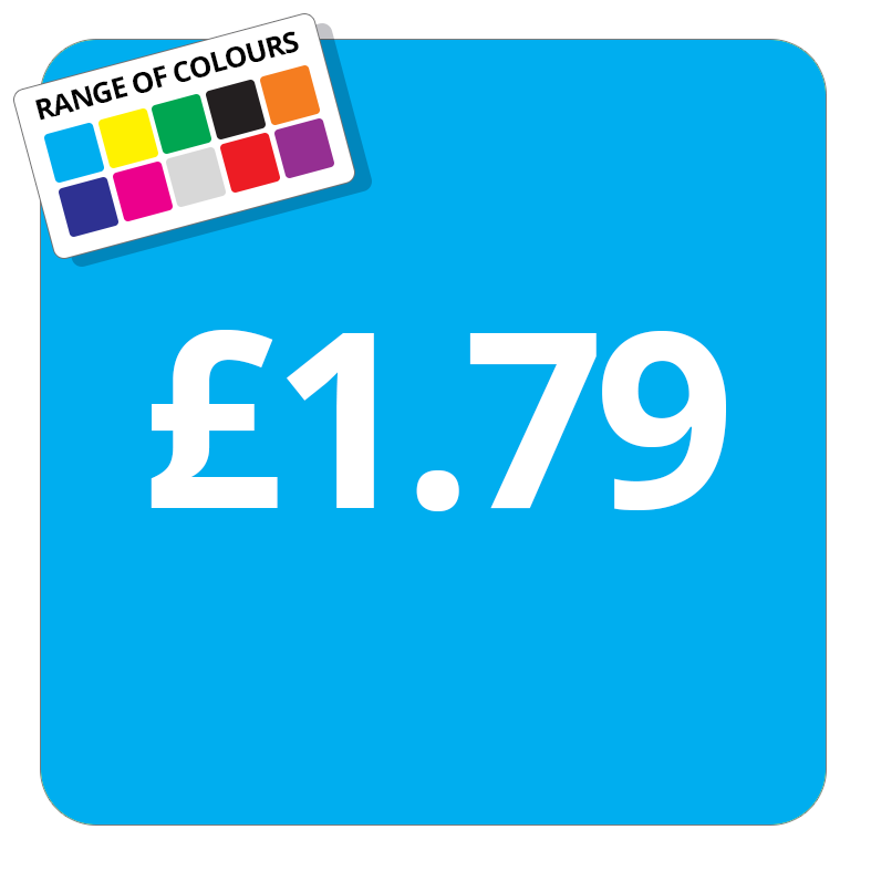 £1.79 Printed Price Sticker - 25mm Square Light Blue