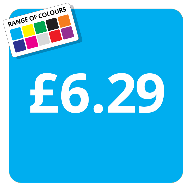 £6.29 Printed Price Sticker - 37mm Square  Light Blue
