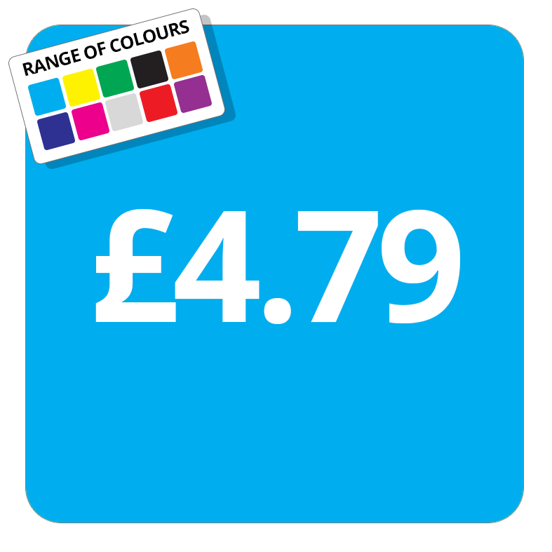 £4.79 Printed Price Sticker - 25mm Square Light Blue