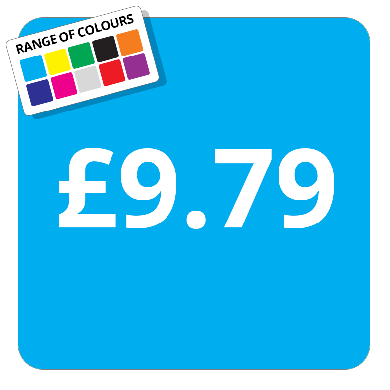 £9.79 Printed Price Sticker - 37mm Square  Light Blue
