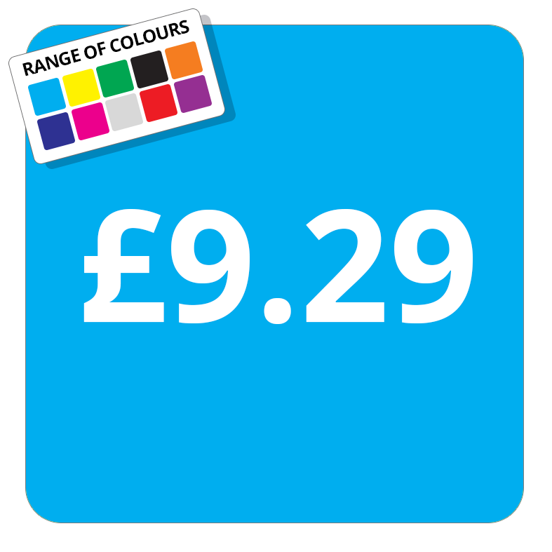 £9.29 Printed Price Sticker - 37mm Square  Light Blue