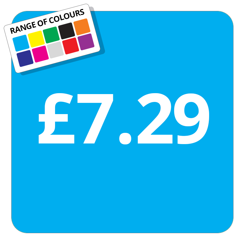 £7.29 Printed Price Sticker - 25mm Square Light Blue