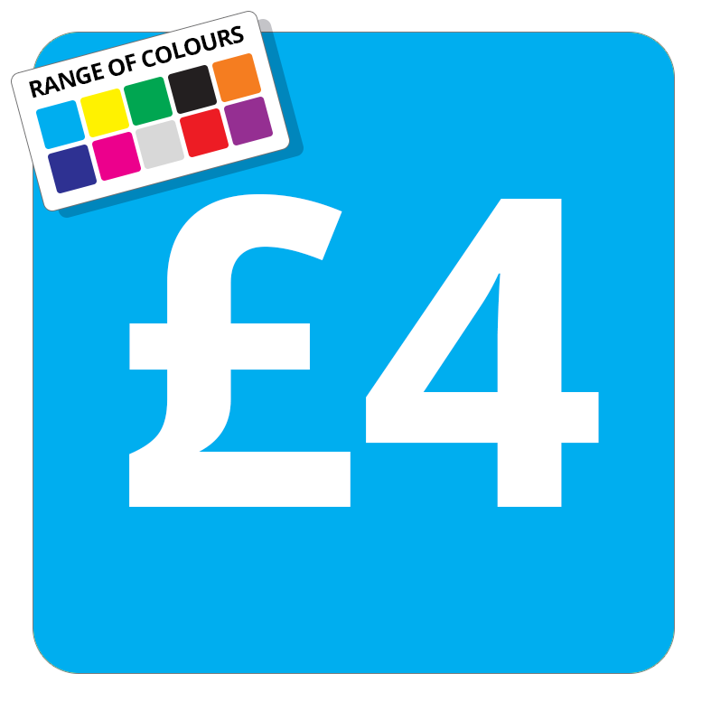 £4 Printed Price Sticker - 25mm Square Light Blue