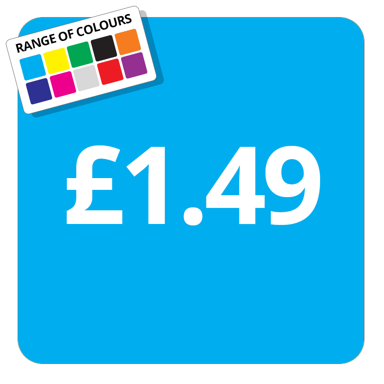 £1.49 Printed Price Sticker - 37mm Square  Light Blue