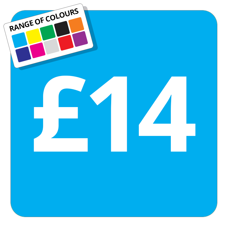 £14 Printed Price Sticker - 51mm Square Light Blue