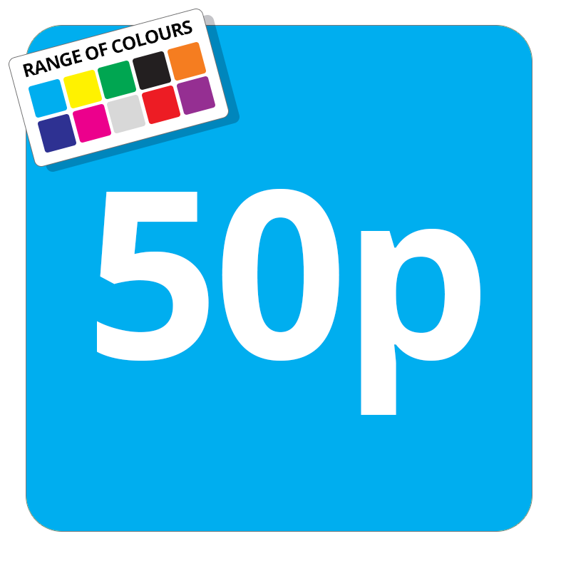 50p Printed Price Sticker - 37mm Square  Light Blue