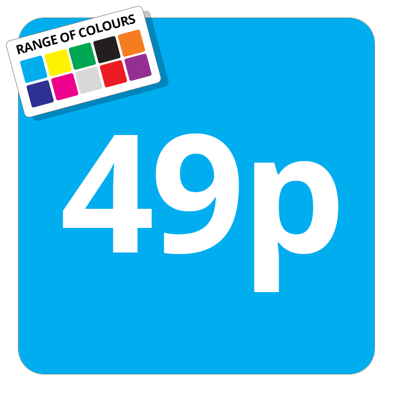 49p Printed Price Sticker - 37mm Square  Light Blue