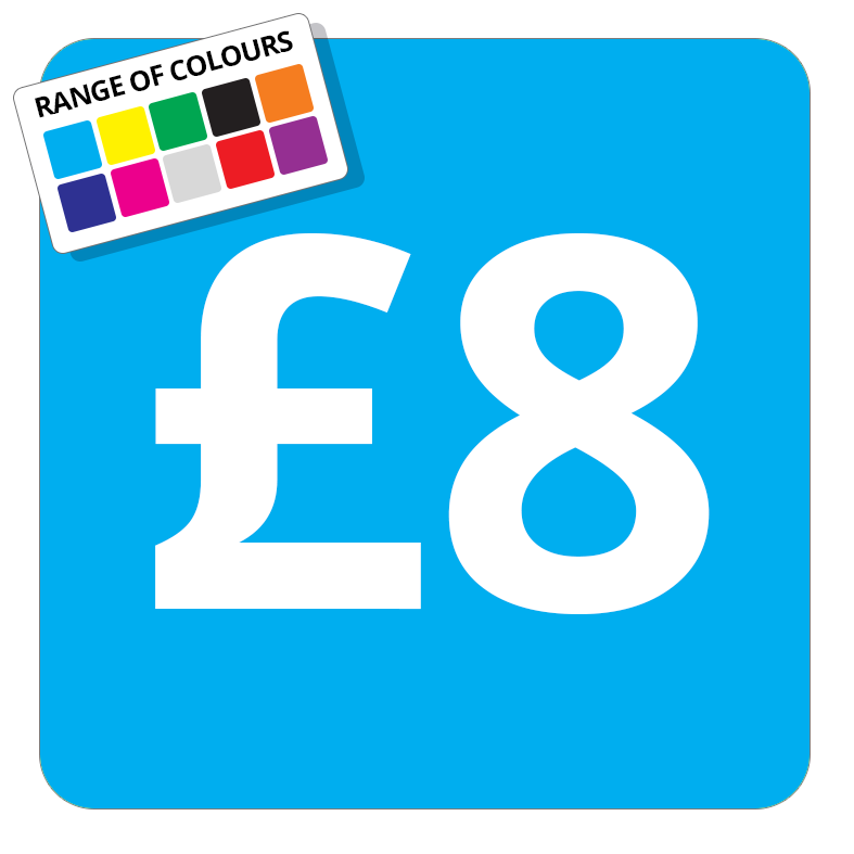 £8 Printed Price Sticker - 37mm Square  Light Blue