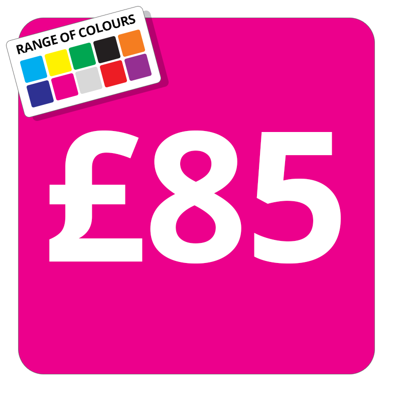 £85 Printed Price Sticker - 25mm Square Light Blue