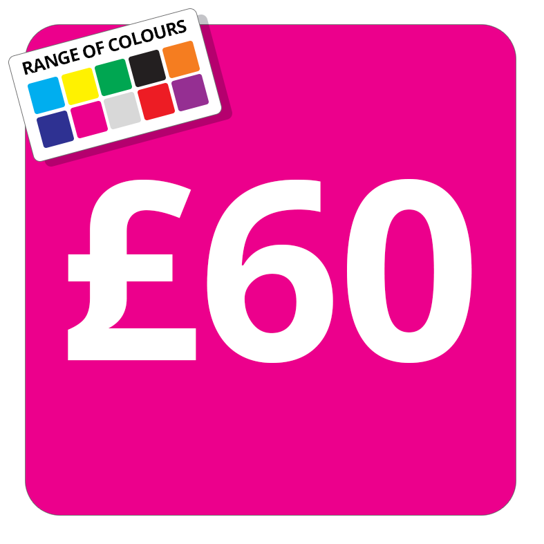 £60 Printed Price Sticker - 25mm Square Light Blue