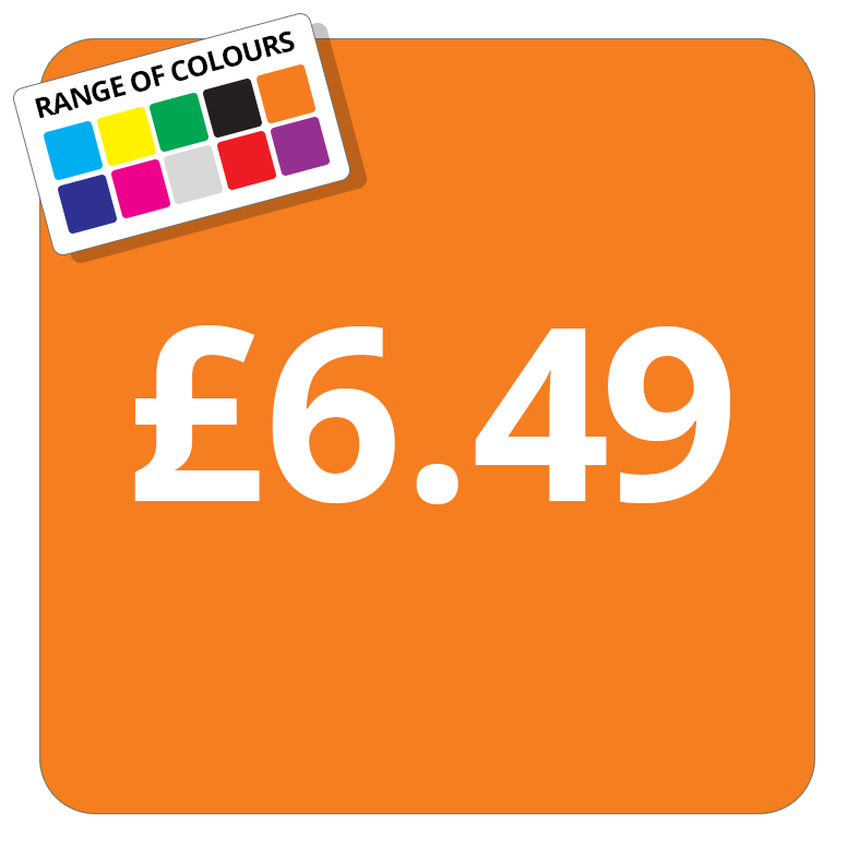 £6.49 Printed Price Sticker - 37mm Square  Light Blue