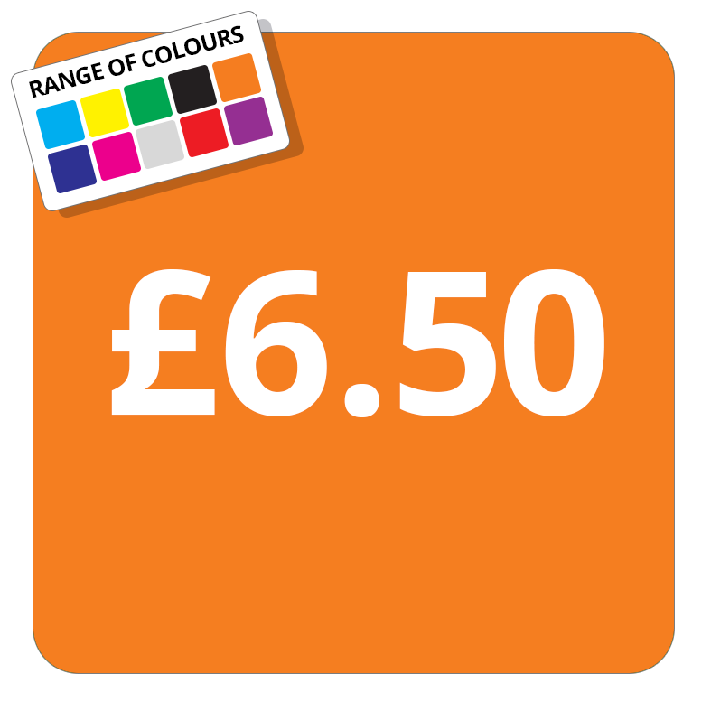 £6.50 Printed Price Sticker - 25mm Square Light Blue