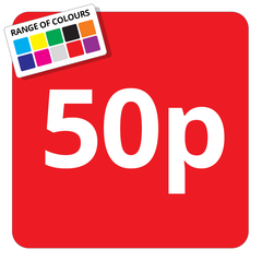 50p Printed Price Sticker - 25mm Square