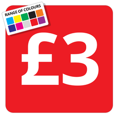 £3 Printed Price Sticker - 25mm Square