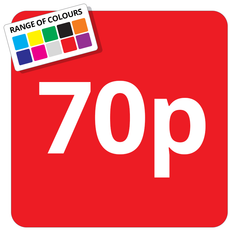 70p Printed Price Sticker - 25mm Square