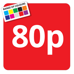 80p Printed Price Sticker - 25mm Square