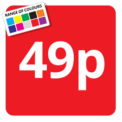 49p Printed Price Sticker - 25mm Square