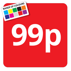 99p Printed Price Sticker - 25mm Square