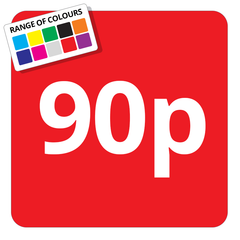 90p Printed Price Sticker - 25mm Square
