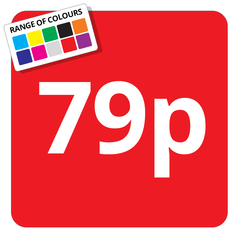 79p Printed Price Sticker - 25mm Square