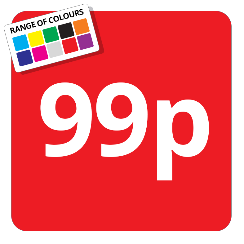 99p Printed Price Sticker - 51mm Square Red