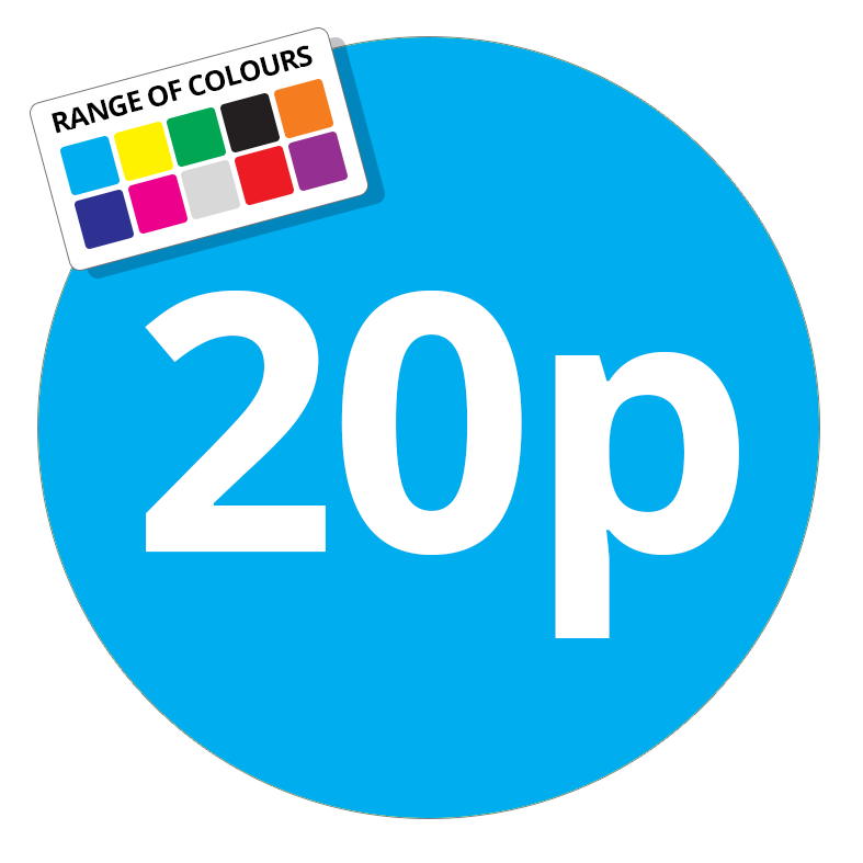 20p Printed Price Sticker - 37mm Round Light Blue