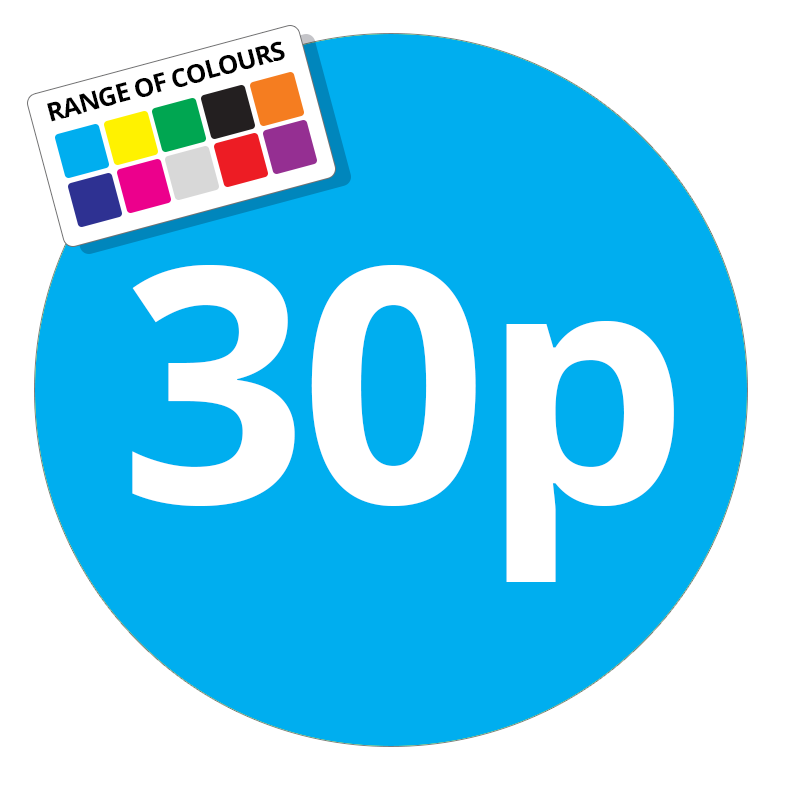30p Printed Price Sticker - 51mm Round Light Blue