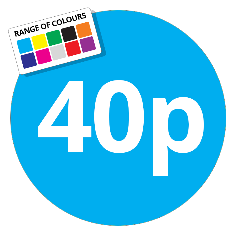 40p Printed Price Sticker - 25mm Round Light Blue