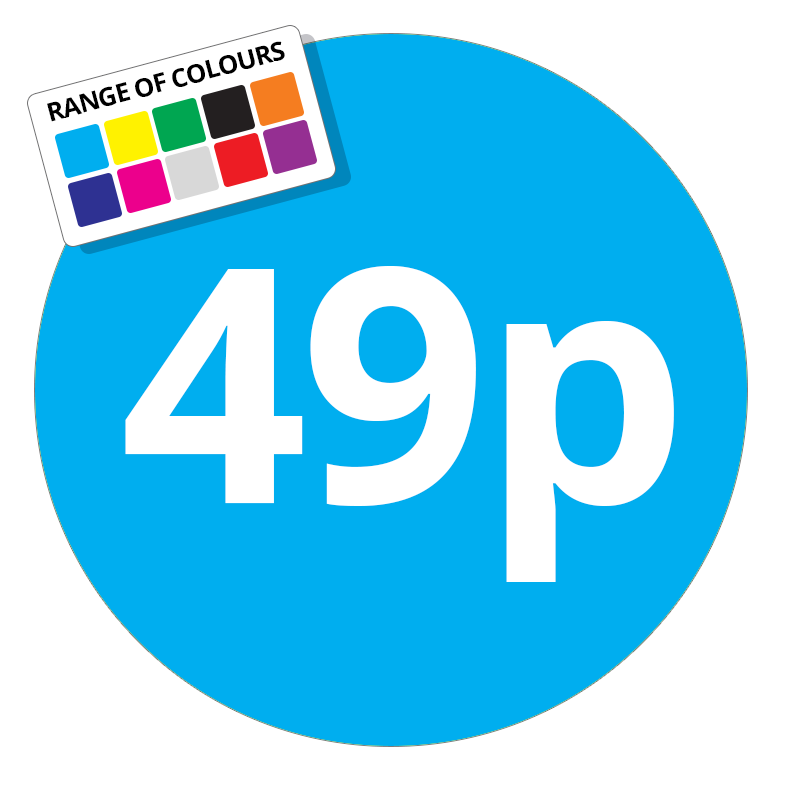 49p Printed Price Sticker - 25mm Round Light Blue