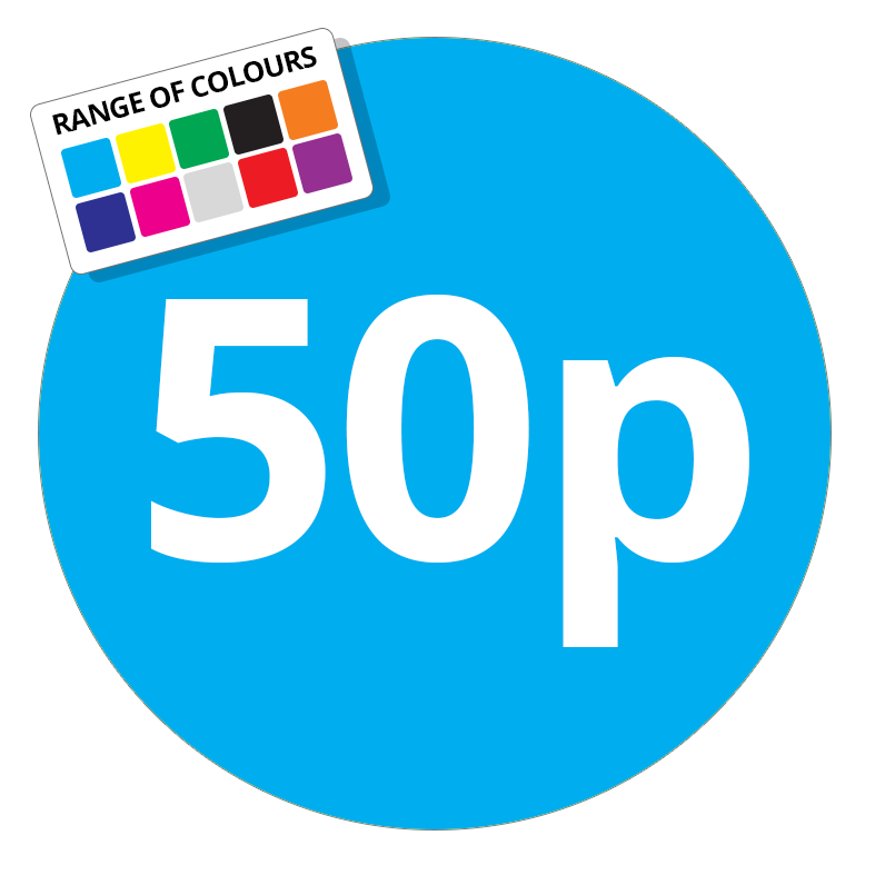 50p Printed Price Sticker - 37mm Round Light Blue