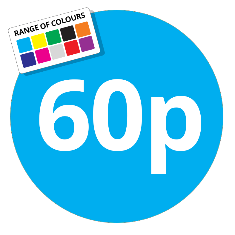 60p Printed Price Sticker - 51mm Round Light Blue