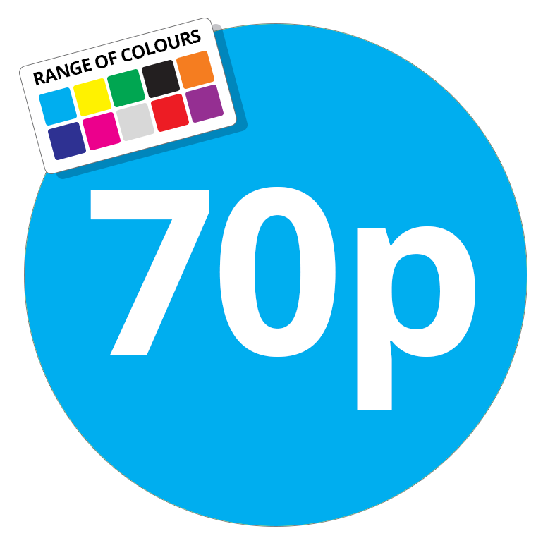 70p Printed Price Sticker - 25mm Round Light Blue