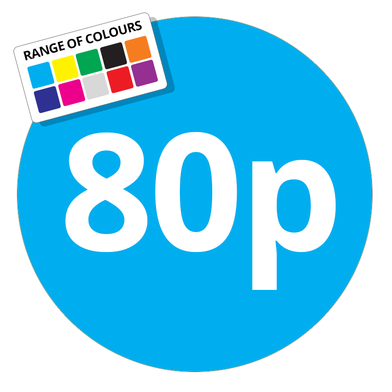 80p Printed Price Sticker - 25mm Round Light Blue