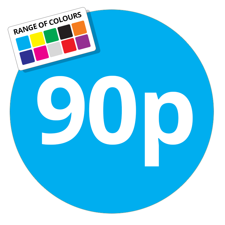 90p Printed Price Sticker - 25mm Round Light Blue
