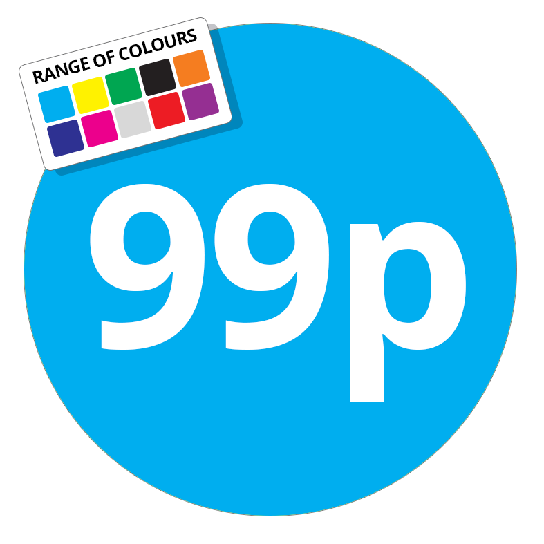 99p Printed Price Sticker - 37mm Round Light Blue