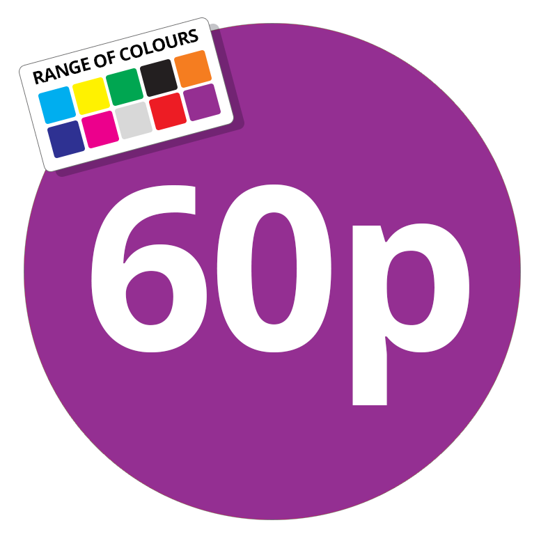 Printed price labels 60p price stickers stickershop co uk