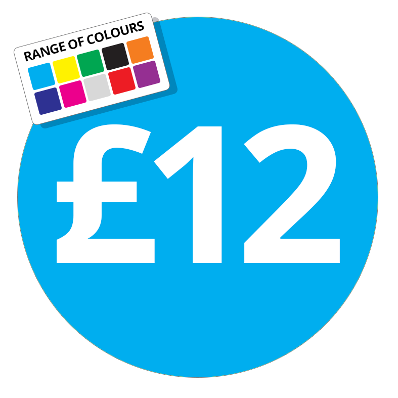 £12 Printed Price Sticker - 25mm Round Purple