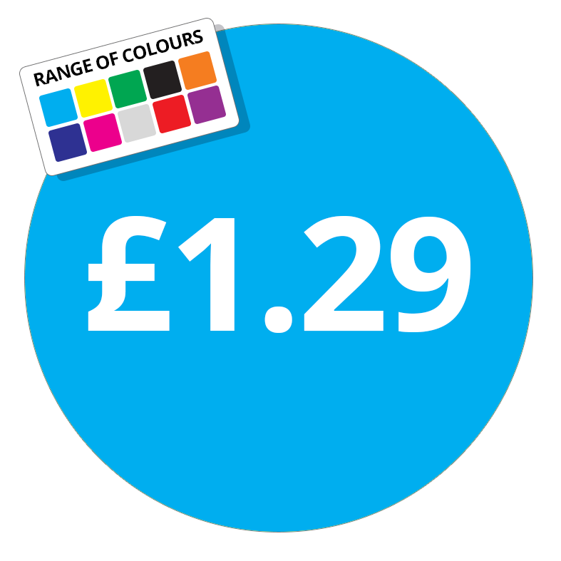 £1.29 Printed Price Sticker - 51mm Round Purple