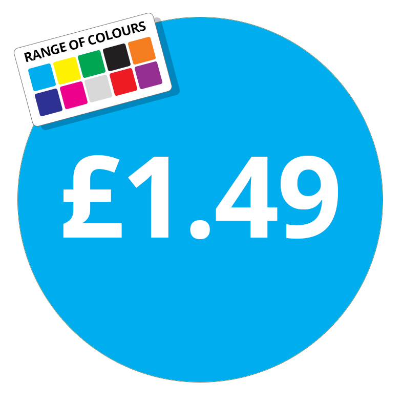 £1.49 Printed Price Sticker - 51mm Round Purple