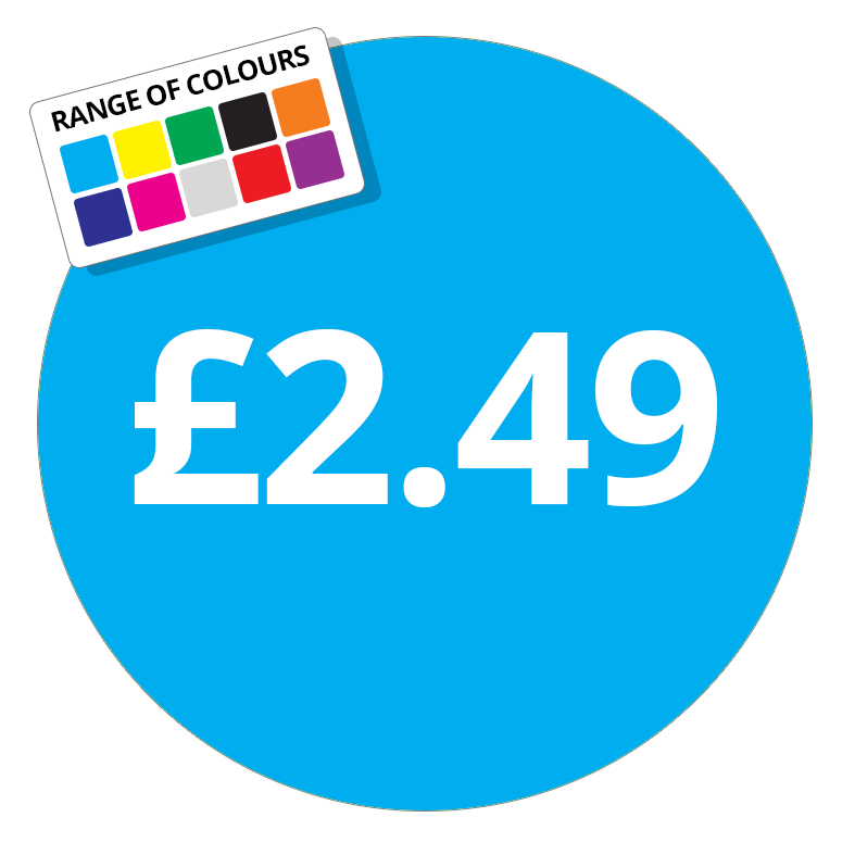 £2.49 Printed Price Sticker - 37mm Round Purple