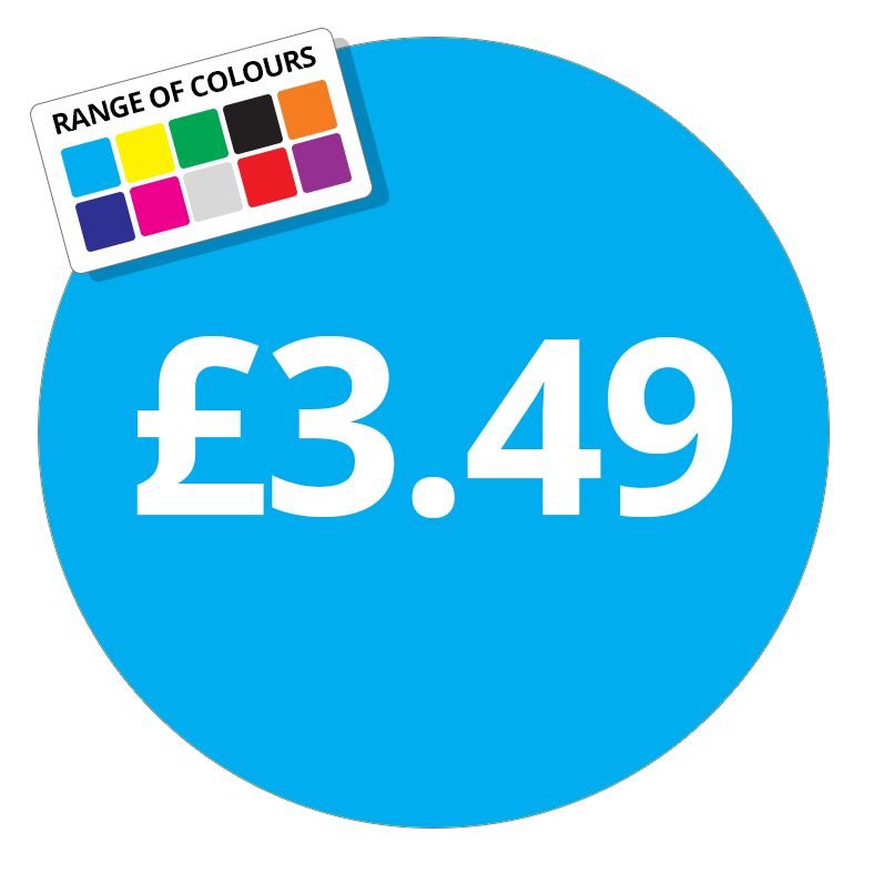 £3.49 Printed Price Sticker - 51mm Round Purple