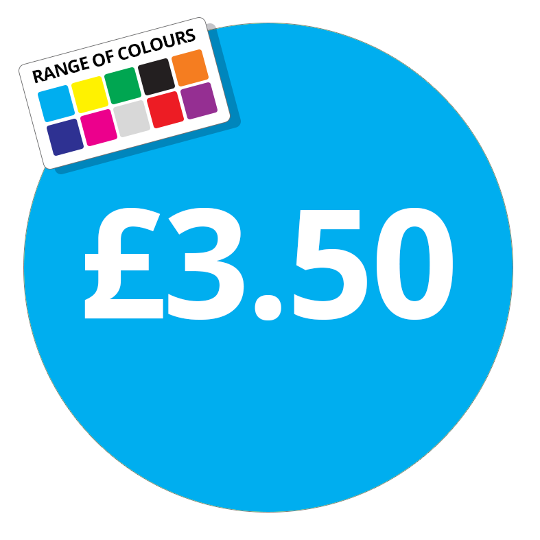 £3.50 Printed Price Sticker - 51mm Round Purple